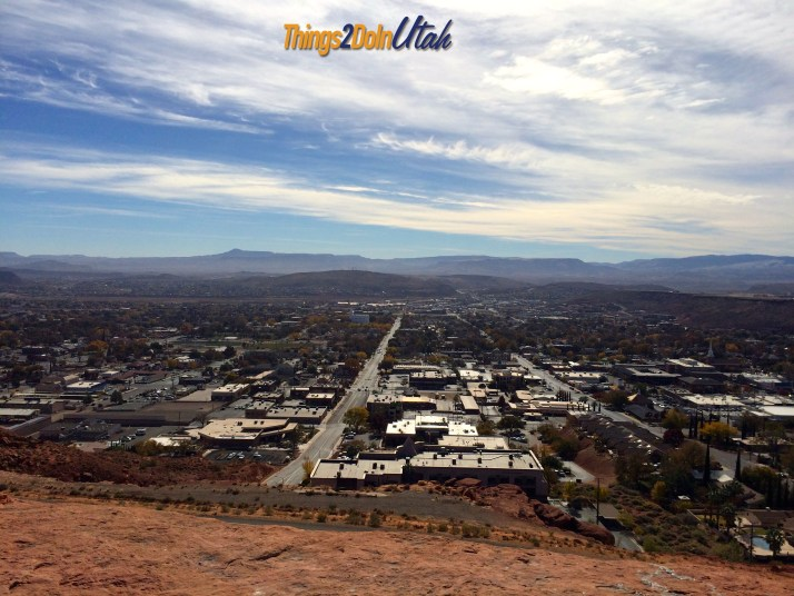 Dixie Rock (which is a big red rock with DIXIE written on it and also called Sugarloaf) can be climbed and gives beautiful vies of downtown, the St. George Temple, Zions National Park, White Dome and even to Arizona.