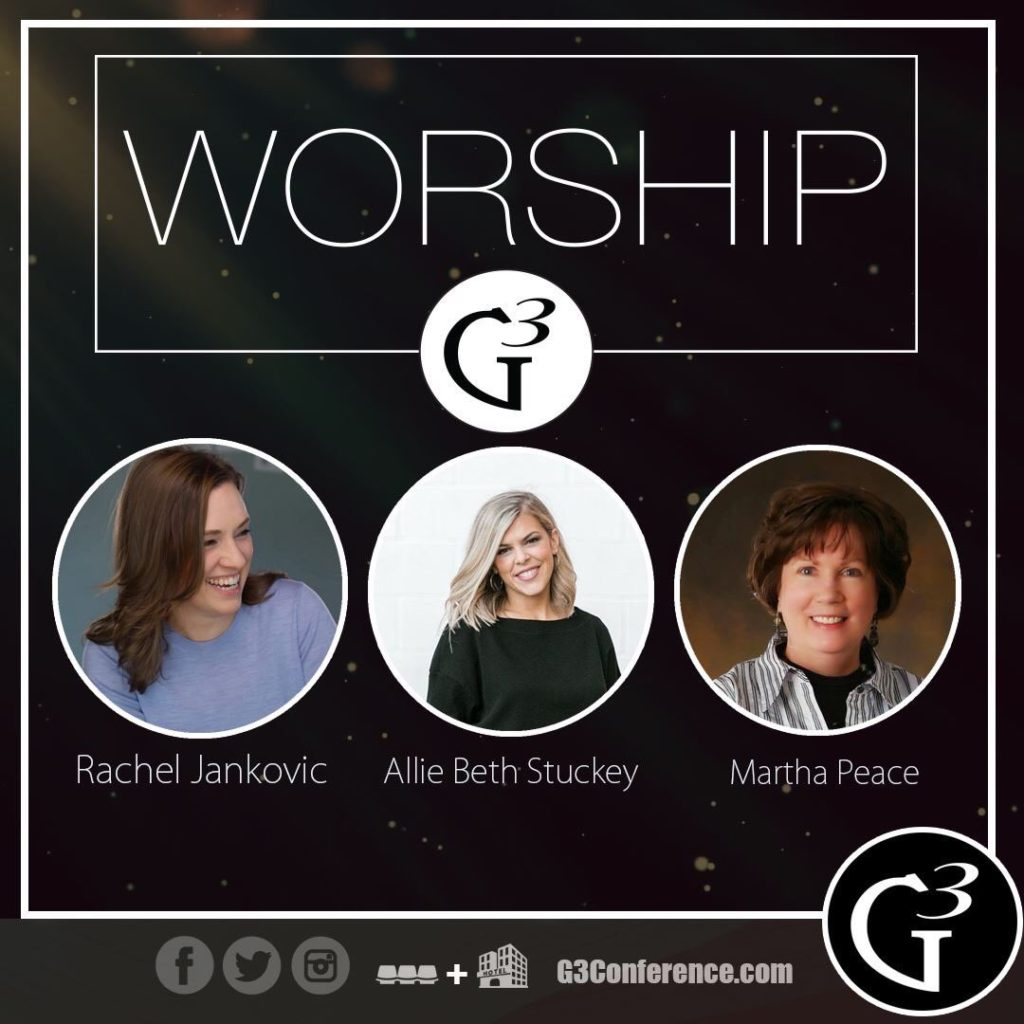 G3 Conference promotional image featuring Rachel Jankovic, Allie Beth Stuckey, and Martha Peace