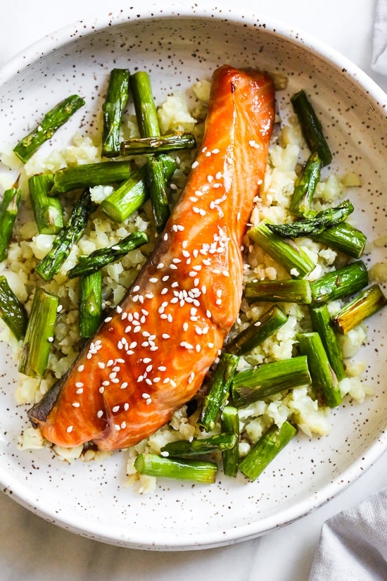 Teriyaki glazed salmon sheet pan