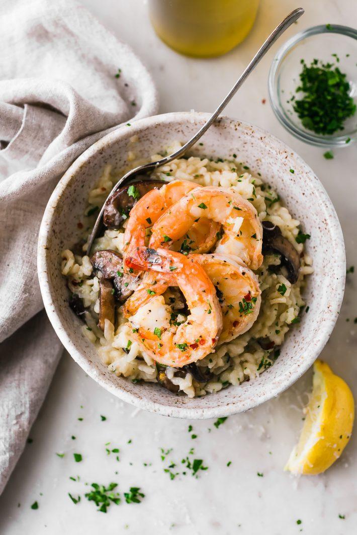 Mushroom shrimp Parmesan risotto