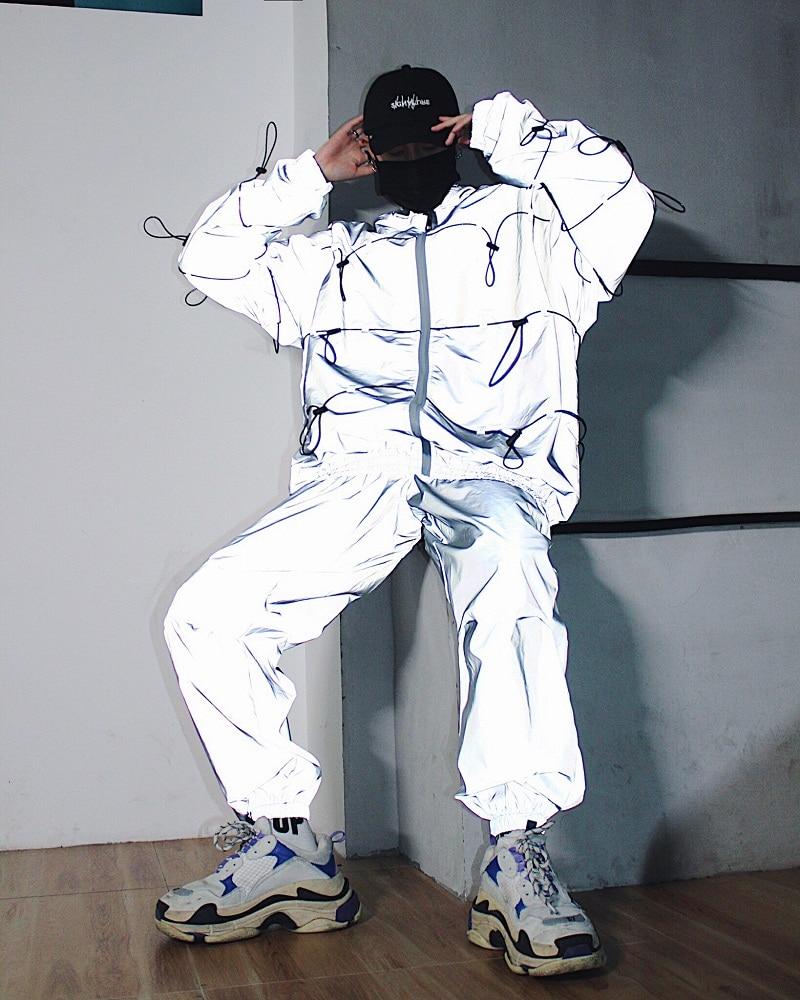 size 40 c055f 07f8e Men 3M Reflective Jacket Sets (jacket+pant) Male Women Streetwear Hip Hop  Casual Windbreaker Coat DJ Stage Show Clothing