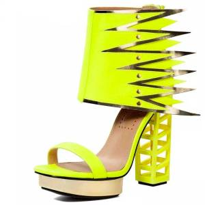 Exotic Strange Heel Chunky Heel Yellow Neon Sandal Shoes