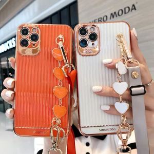 Luxury iPhone 12 11 Electroplated Suitcase Love Heart Wrist Bracelet Lanyard Phone Case