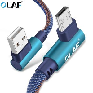 OLAF 2m Micro USB Cable 2A Fast Charger USB Cord 90 degree elbow