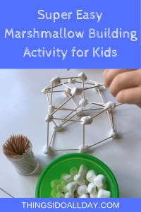 marshmallow and toothpick building toddler and kid activity