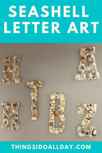 Seashell Letter Art, a great seashell craft with kids for some free home decor!