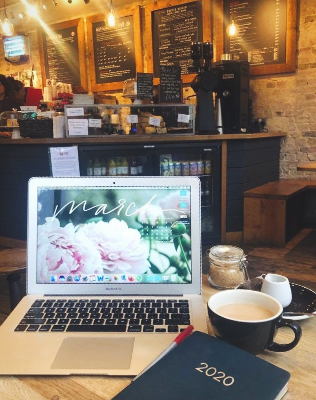 coffee shop with laptop