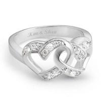 Sterling Silver Couples Double Heart Ring