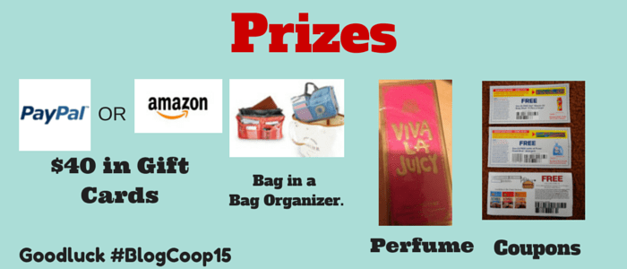 Prizes for Blogger's Co-op Giveaway  ends 5/14
