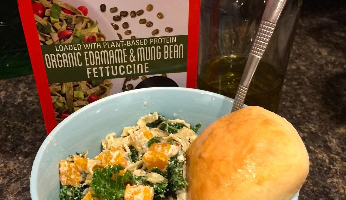Explore Cuisine-Organic Edamame and Mung Bean Fettuccine-Recipe for Butternut Squash Kale and Fettucine with Creamy Ricotta Sage Sauce