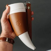 Horn-shaped coffee mug