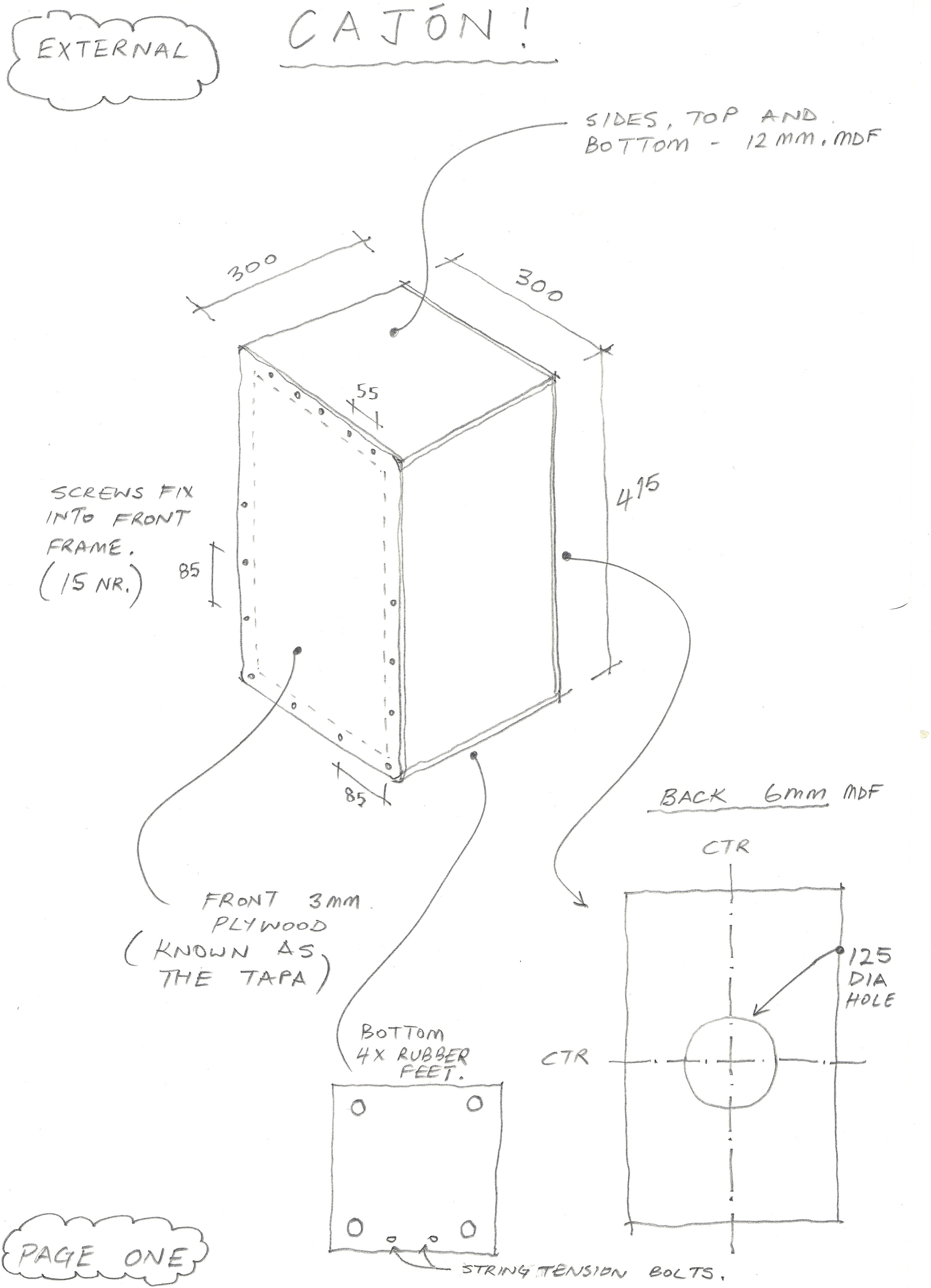 handmade cajon diagram
