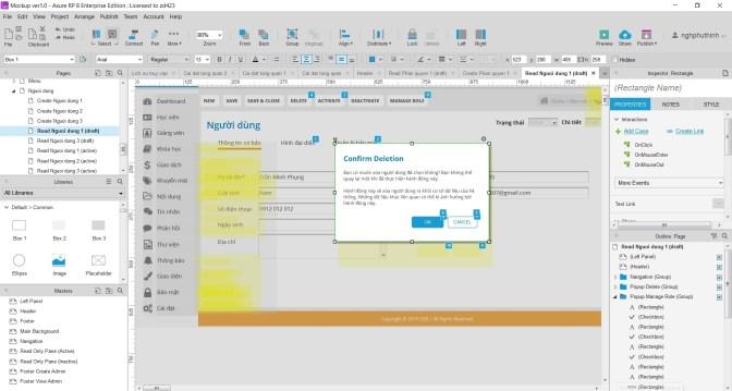Ví dụ một form màn hình trên Axure mà mình đang làm