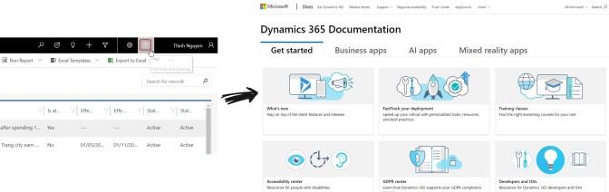 Ví dụ chức năng Online Manual của Dynamics 365