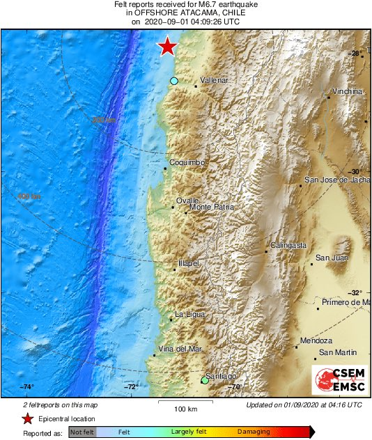 Strong Chile Earthquake Magnitude 7.0 Hits The North