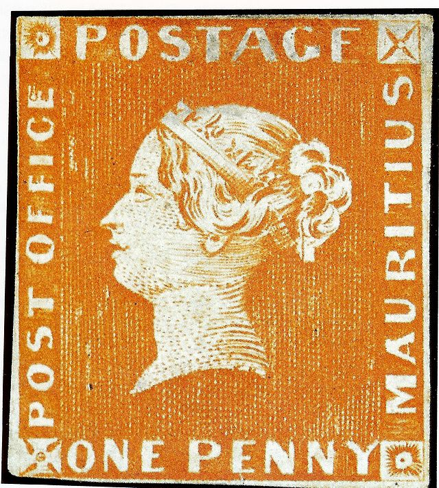 One Penny Red Mauritius Postage Stamp