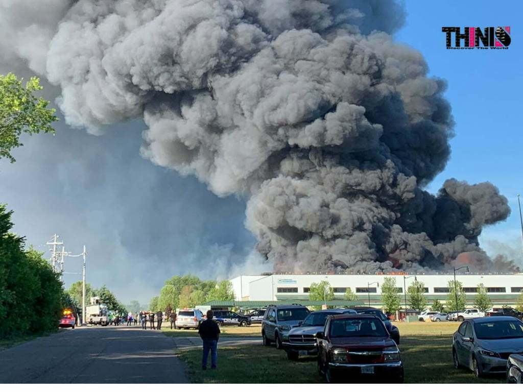 A Chemical Fire In Rockton Il The Area To Be Evacuated