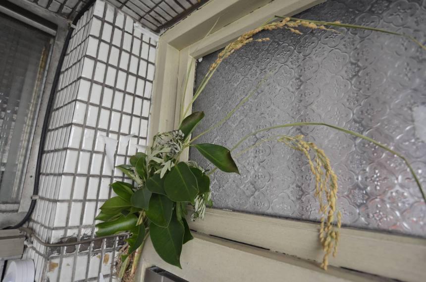 端午節這天家家戶戶會於門上懸掛驅邪植物(溫宗翰攝)