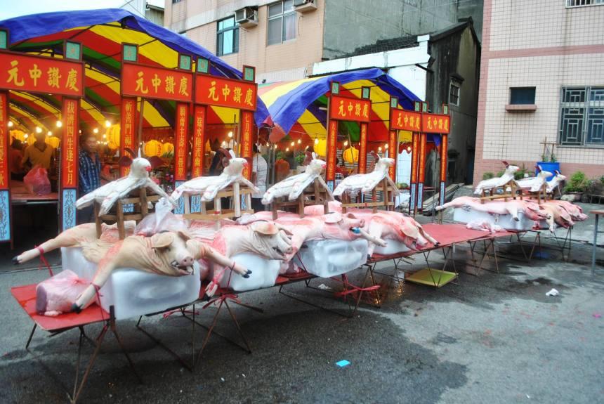 浩天宮六角頭公普,以豬羊獻祭,展現最高誠意。