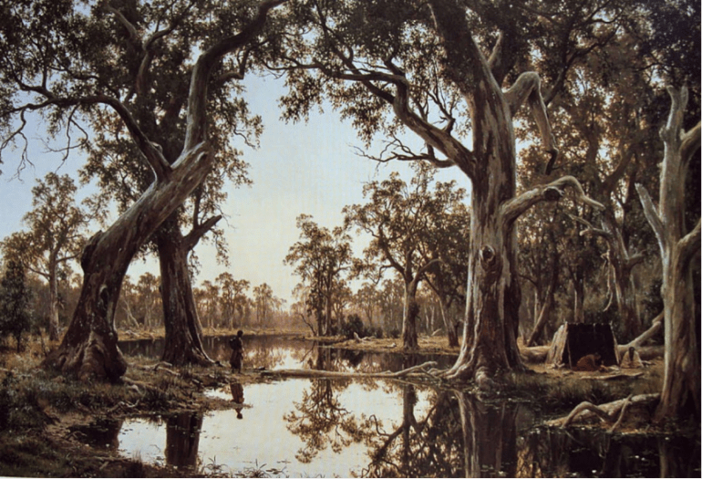 Evening Shadows, Backwater of the Murray South Australia, H.J. Johnstone