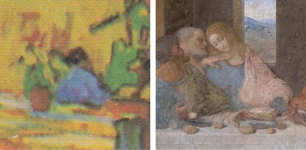 Detail, Interior of the Restaurant Carrel in Arles – Vincent van Gogh (1888); Detail, The Last Supper, Leonardo da Vinci (1494-1499)