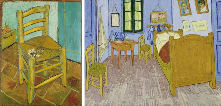 Vincent's Chair – Vincent van Gogh (1888); Bedroom in Arles – Vincent van Gogh (1889)