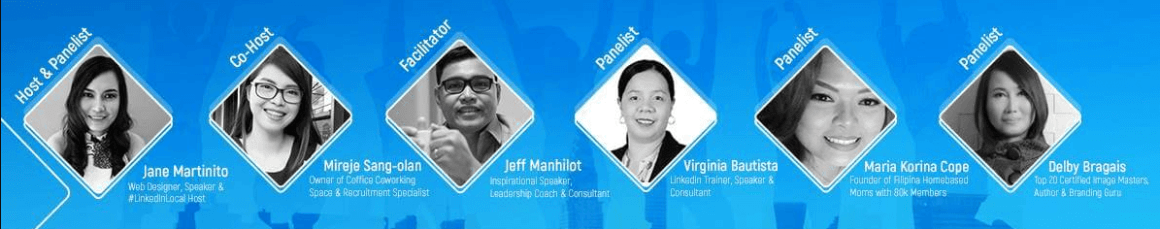 Jane Martinito (Host & Panelist), Mireje sang-Olan (Co-host/Owner of Coffice in Dasmarinas), Jeff Manhilot (Facilitator), MK Coppe (Founder, Filipino Home Based Moms), and Delby Bragais (Author & Branding Guru).