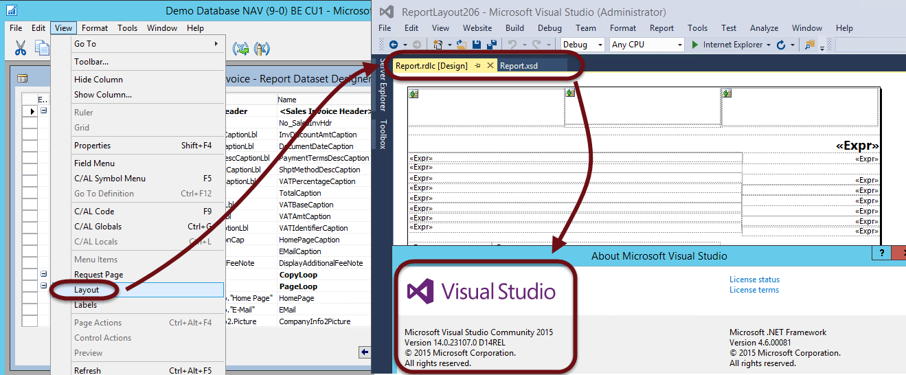 Nav 2016 cu 1 compatible with visual studio 2015 ce for Rdlc template