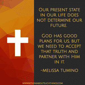 HOPE - Our present state in our life does not determine our future.   God has good plans for us, but we need to accept that truth and partner with Him in it.  -Melissa Tumino #quote #Christianquote #melissatumino