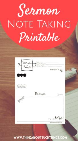 note taking printable