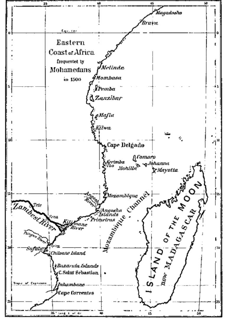 kilwa_Principal cities of East Africa, c. 1500.