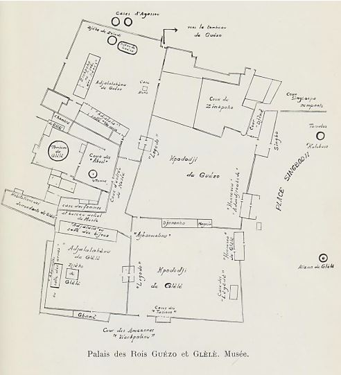 dahomey - plan of palaces of king guezo and king gbele
