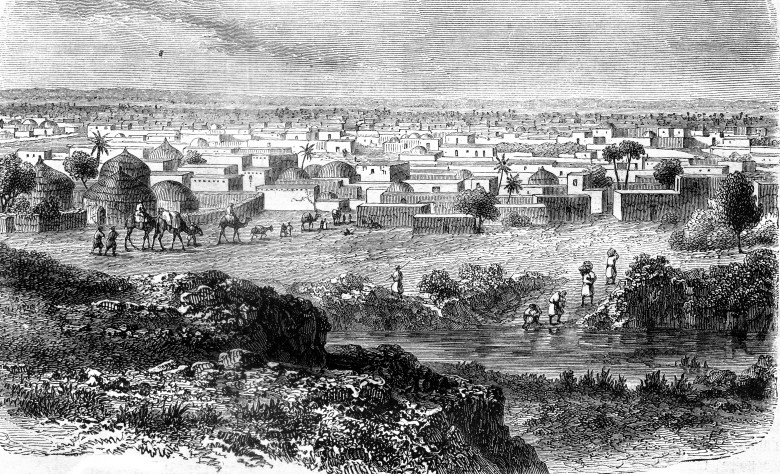 Kano, city of the country of Hausa, vintage engraving.