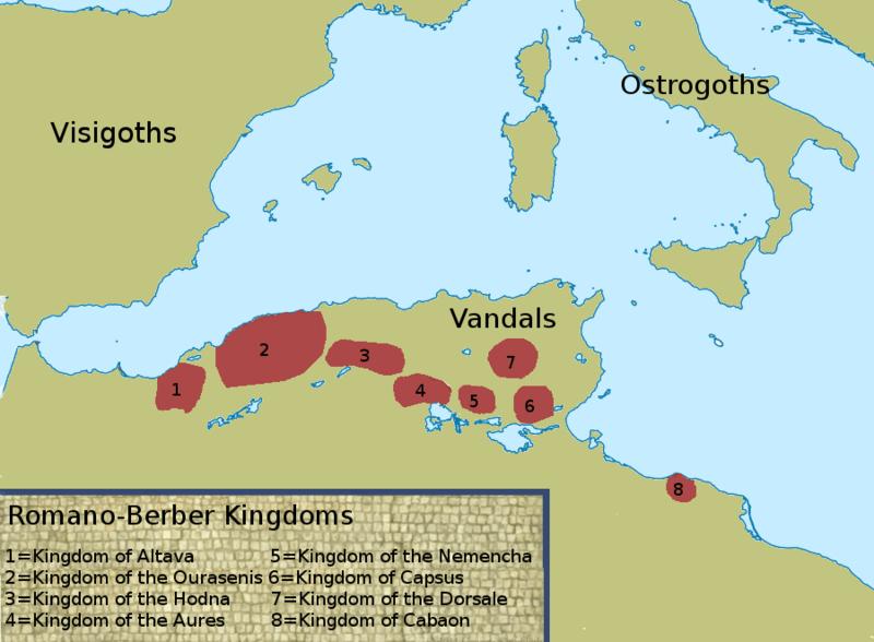 Berber Kingdoms map of the eight CHristian Romano-Berber kingdoms