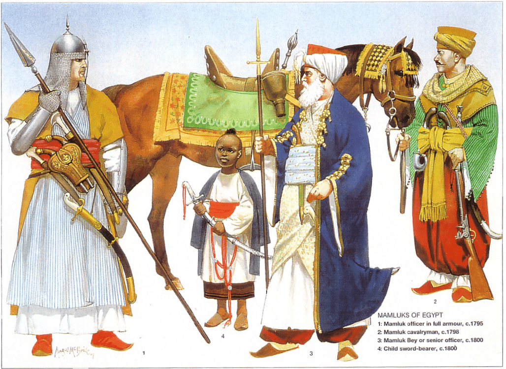 Mamluks of Egypt: 1: Mamluk officer in full armour, c. 1795; 2: Mamluk  cavalryman, c. 1798; 3: Mamlu… | Warriors illustration, Historical  warriors, Egypt history