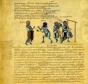 Illustration of Terence'sAndria, Act 1, Scene 1, from Codex Vaticanus Latinus 3868, ca. 825 AD