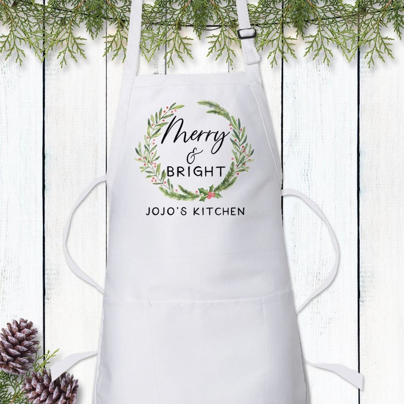Personalized Christmas Apron  Holiday Cooking Kitchen Baking image 0