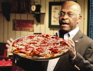 Herman Cain Holding Pizza