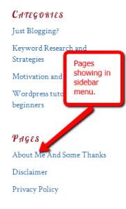 Pages WordPress Sidebar
