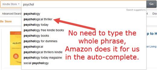 Amazon Kindle Keywords Research Auto-Complete Method