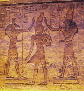 Seth and Horus adoring Ramesses