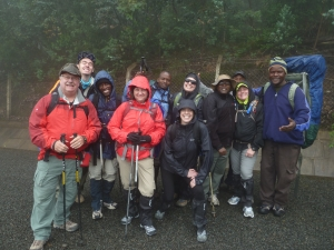Hope-2-Others team members and guides ready to start the climb up Mt. Kilimanjaro.