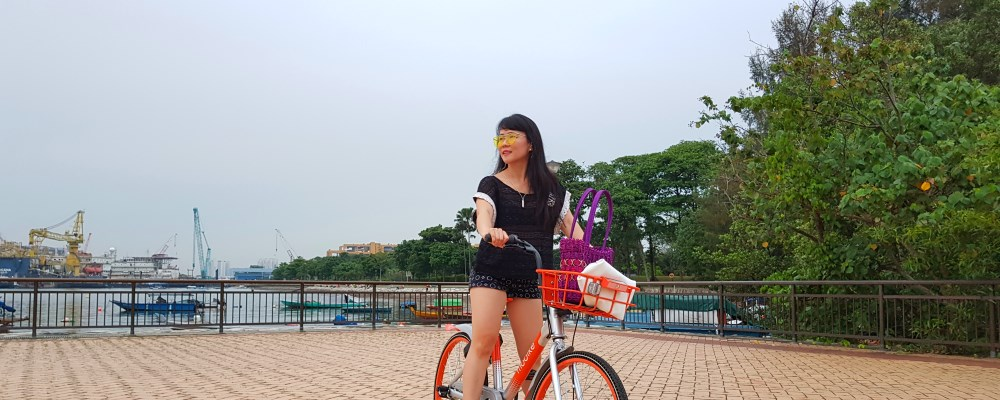 Getting around with Mobike in West Coast Park Singapore!
