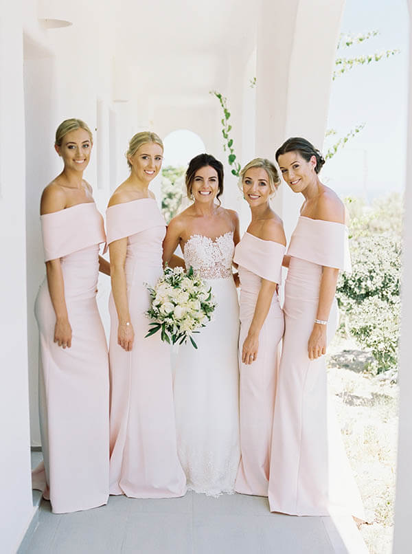 Romantic Blush & Copper Wedding - bride and bridesmaids in pink dresses