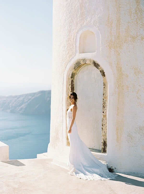 Romantic Blush & Copper Wedding - santorini wedding by think happy events