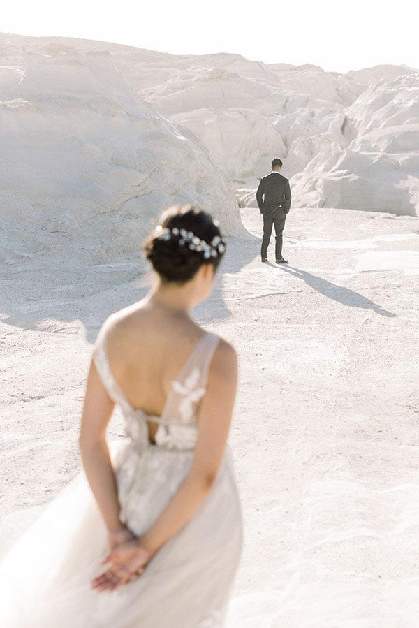 al fresco wedding Milos - think happy events sarakiniko beach