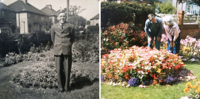 The author's uncle (1940s) and parents (1980s) in his grandmother's front garden