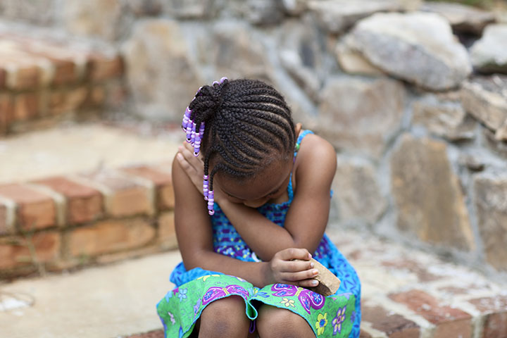 sad mad little girl