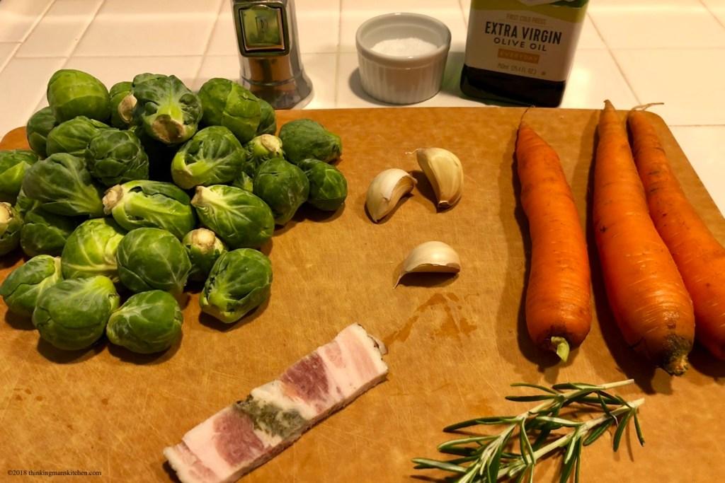 Mise en place - brussels sprouts and carrots et al.