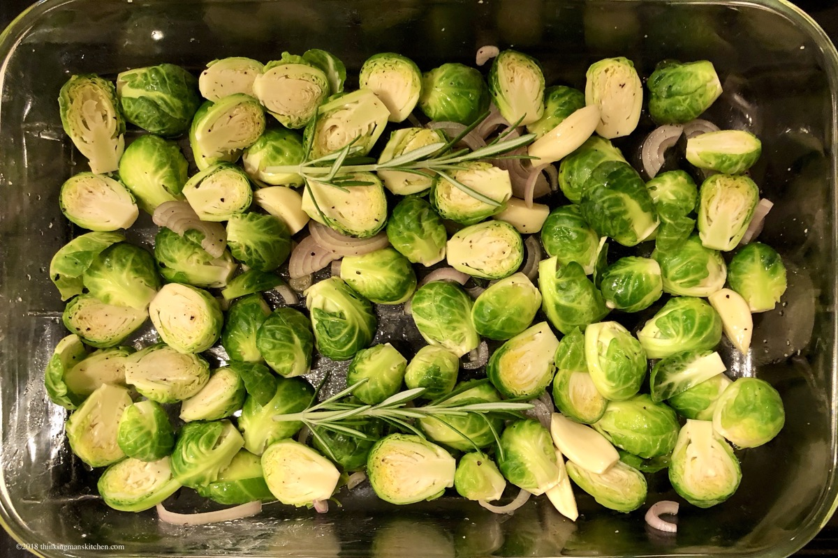 Brussels sprouts from the market ready to roast